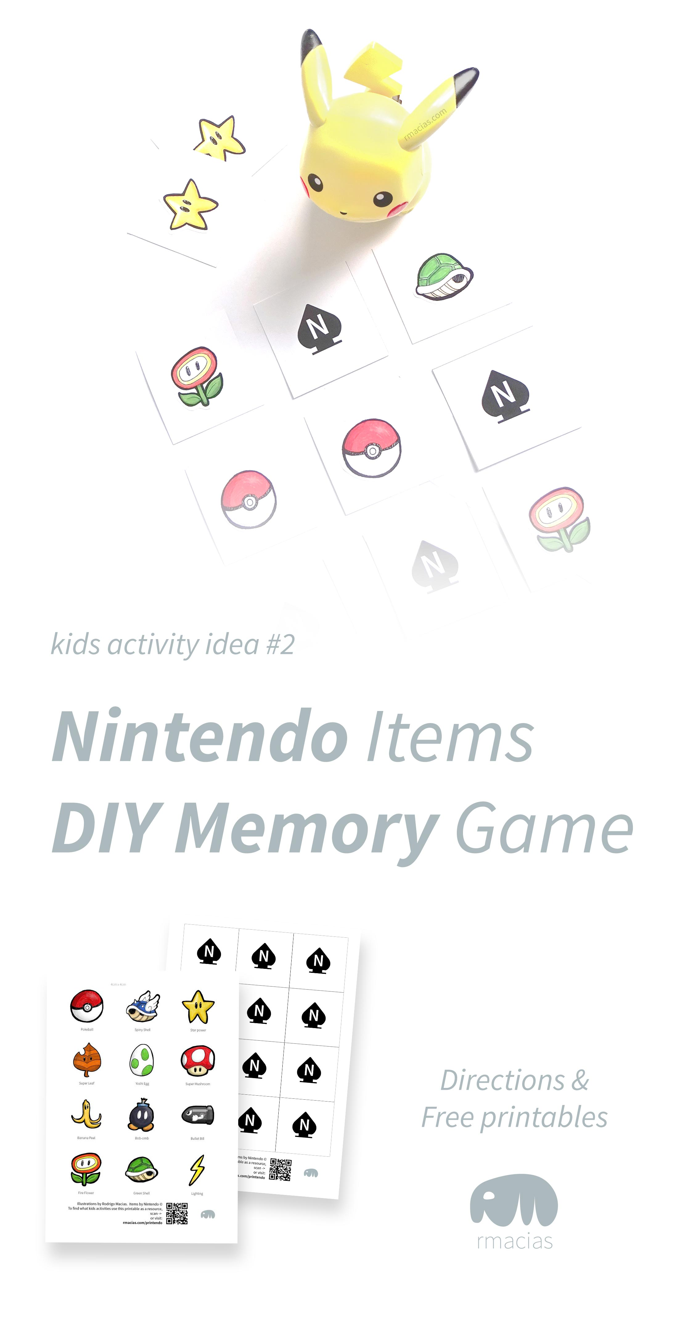 DIY Nintendo memory game with print-ready illustrations of hand-drawn items. Free printable and how-to directions. By Kids Activities Designer Rodrigo Macias.