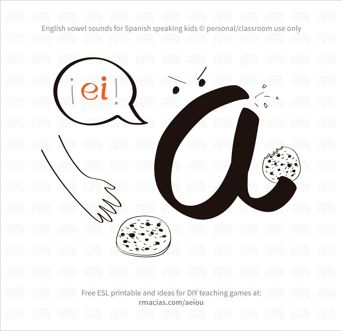 "Funny vowels illustrations for teaching in a humorous way English vowels names to Spanish-speakers, using expressions that are already familiar to Spanish-speaking students. I made them using the Spanish from LatinAmerica - Mexico ?? A - ¡ei! (letter ""a"" is yelling at someone that wants to steal a cookie) E - ¡iii! (letter ""e"" is playing on a swing) I - ¡ai! (letter ""I"" is getting stung by a bee) O - ou (letter ""o"" has dropped its ice cream on the floor) U - iu (letter ""u"" is disgusted by a poo on the floor)"