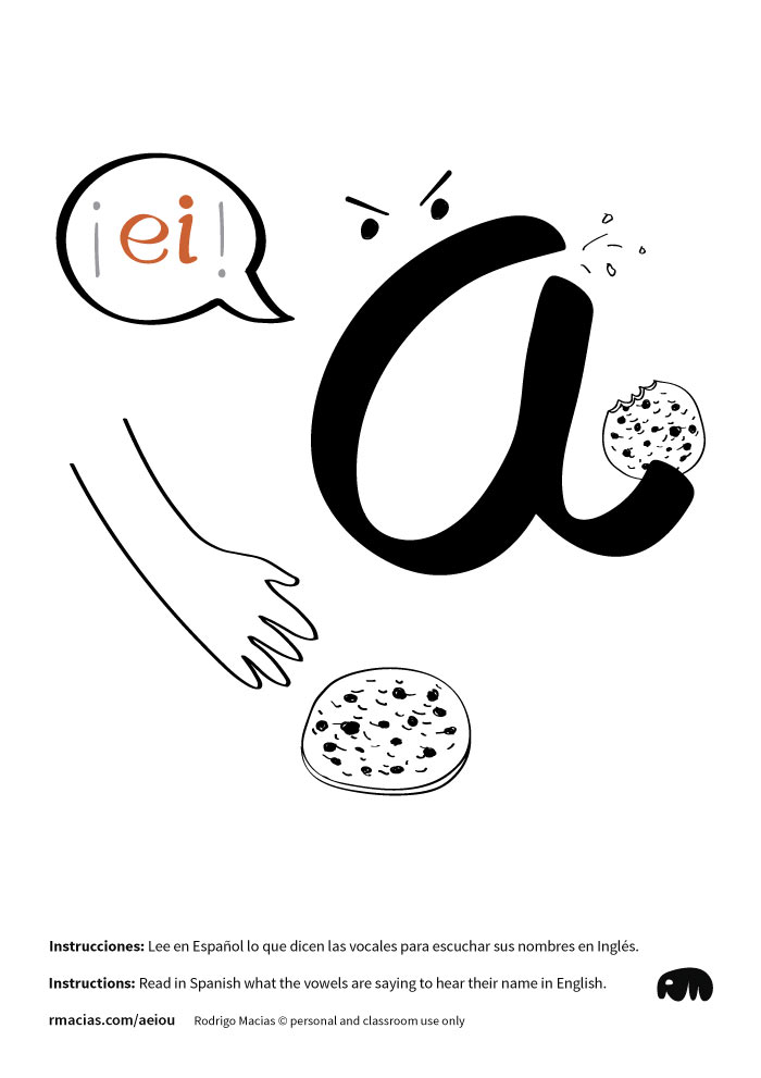 Letter A - Funny vowels illustrations for teaching in a humorous way English vowels names to Spanish-speakers, using expressions that are already familiar to Spanish-speaking students