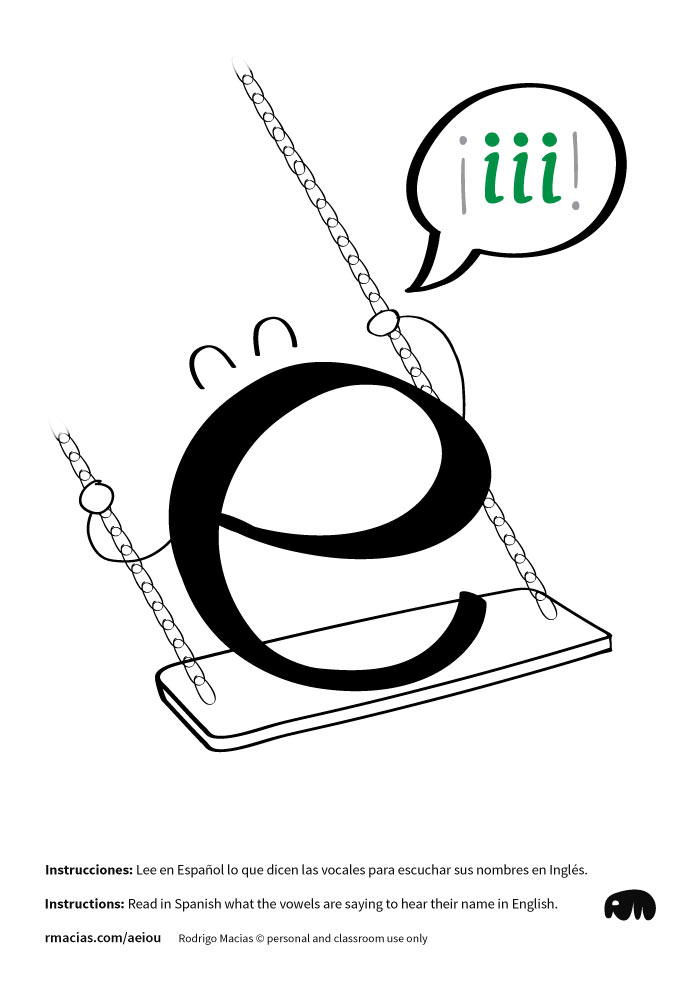 Letter E - Funny vowels illustrations for teaching in a humorous way English vowels names to Spanish-speakers, using expressions that are already familiar to Spanish-speaking students