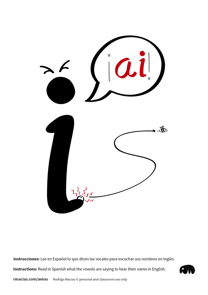 Letter U - Funny vowels illustrations for teaching in a humorous way English vowels names to Spanish-speakers, using expressions that are already familiar to Spanish-speaking students
