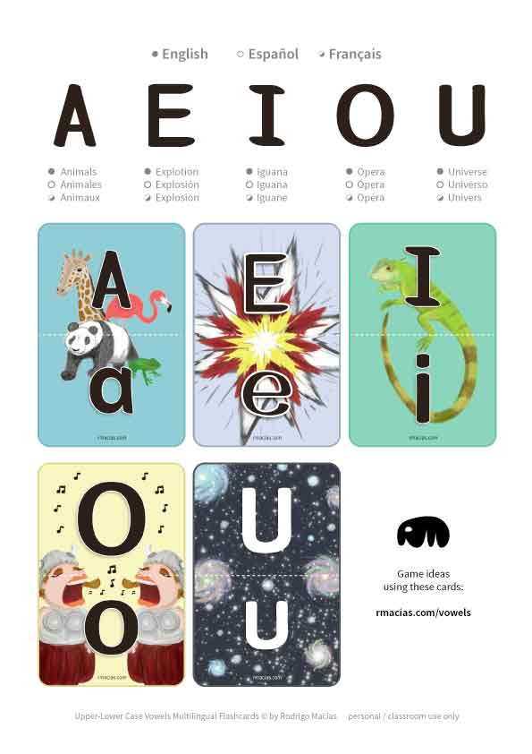 Preschool level kids that speak either English, Spanish or French can use these as a fun learning practice for upper and lower case alphabet vowels. If your kid is bilingual, then you might find them ultra useful :) by kids activities designer Rodrigo Macias