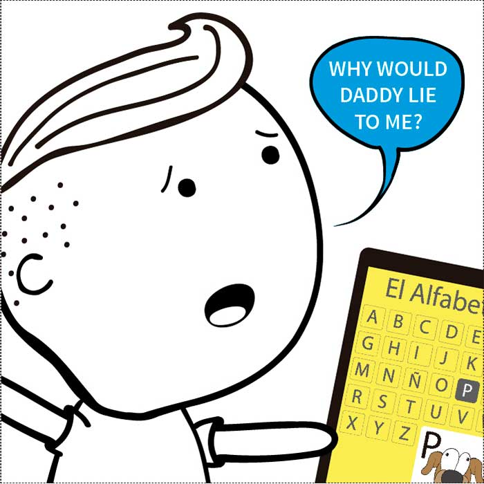 A comic strip describing a regular problem parents face when raising multilingual children where the bilingual kids get confused using monolingual alphabets to learn how to read and write.