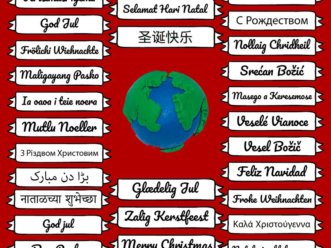 How to say Merry Xmas or the equivalent Christmas greetings in many different languages from around the world.