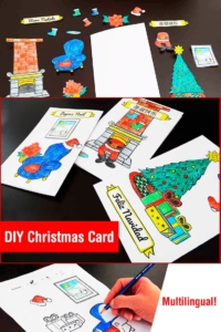 Kids DIY Christmas Card Idea: Coloring, Cut and Paste (Free Multilingual Printable)