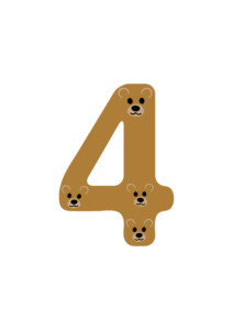 Number 4 Posters of Free Printable Numbers Bundle to teach number recognition that suits any language. Each number design has an X amount of cute animal faces within the number shape (i.e: Number 3 has 3 little pigs) for kids to count.