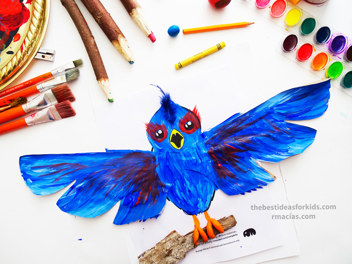 Art supplies and Bird from Complete The Animals Game - Fun idea for an Arts and Crafts game where kids exercise their creativity and problem-solving skills by coming up with different ways to complete the bodies of different animals. Free PDF has the base drawings for printable for the following animals: Lion, Bird, Cat, Turtle, Snake, Fish, Butterfly and Sheep.