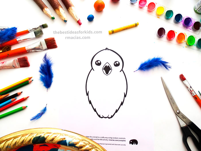 Incomplete Drawing of Bird from Complete The Animals Game - Fun idea for an Arts and Crafts game where kids exercise their creativity and problem-solving skills by coming up with different ways to complete the bodies of different animals. Free PDF has the base drawings for printable for the following animals: Lion, Bird, Cat, Turtle, Snake, Fish, Butterfly and Sheep.