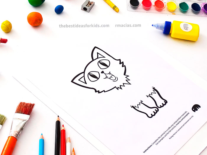Incomplete Drawing of Cat from Complete The Animals Game - Fun idea for an Arts and Crafts game where kids exercise their creativity and problem-solving skills by coming up with different ways to complete the bodies of different animals. Free PDF has the base drawings for printable for the following animals: Lion, Bird, Cat, Turtle, Snake, Fish, Butterfly and Sheep.