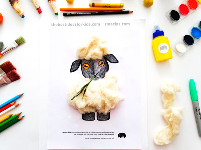 Art supplies and Sheep from Complete The Animals Game - Fun idea for an Arts and Crafts game where kids exercise their creativity and problem-solving skills by coming up with different ways to complete the bodies of different animals. Free PDF has the base drawings for printable for the following animals: Lion, Bird, Cat, Turtle, Snake, Fish, Butterfly and Sheep.