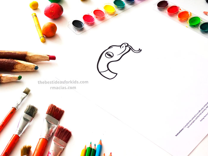 Incomplete Drawing of Snake from Complete The Animals Game - Fun idea for an Arts and Crafts game where kids exercise their creativity and problem-solving skills by coming up with different ways to complete the bodies of different animals. Free PDF has the base drawings for printable for the following animals: Lion, Bird, Cat, Turtle, Snake, Fish, Butterfly and Sheep.