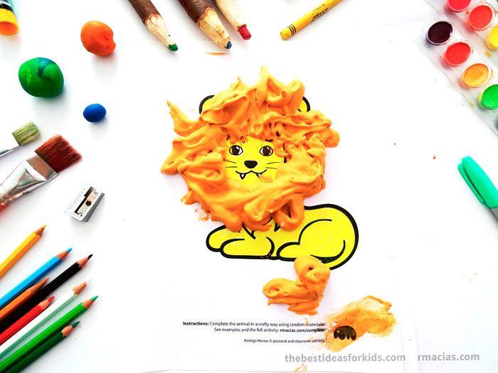 Art supplies and Lion from Complete The Animals Game - Fun idea for an Arts and Crafts game where kids exercise their creativity and problem-solving skills by coming up with different ways to complete the bodies of different animals. Free PDF has the base drawings for printable for the following animals: Lion, Bird, Cat, Turtle, Snake, Fish, Butterfly and Sheep.