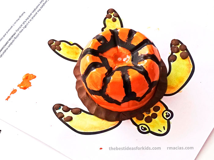 Art supplies and turtle from Complete The Animals Game - Fun idea for an Arts and Crafts game where kids exercise their creativity and problem-solving skills by coming up with different ways to complete the bodies of different animals. Free PDF has the base drawings for printable for the following animals: Lion, Bird, Cat, Turtle, Snake, Fish, Butterfly and Sheep.