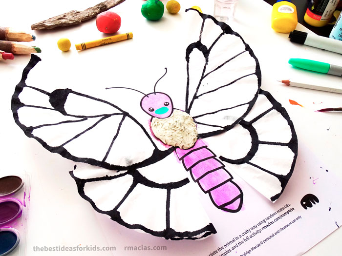Art supplies and Butterfly from Complete The Animals Game - Fun idea for an Arts and Crafts game where kids exercise their creativity and problem-solving skills by coming up with different ways to complete the bodies of different animals. Free PDF has the base drawings for printable for the following animals: Lion, Bird, Cat, Turtle, Snake, Fish, Butterfly and Sheep.