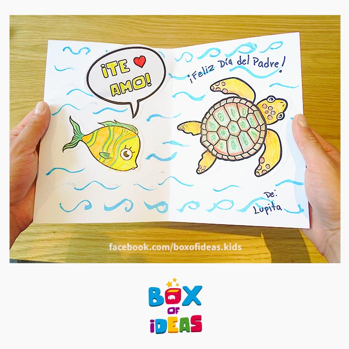 Daddy-turtle-and-fish-illustrated-guess-what-bilingual-card-for-Inclusive-Modern-DIY-Fathers-Day-Gift-by-box-of-ideas