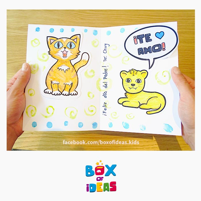 daddy-cat-and-baby-lion-illustrated-guess-what-bilingual-card-for-Inclusive-Modern-DIY-Fathers-Day-Gift-by-box-of-ideas