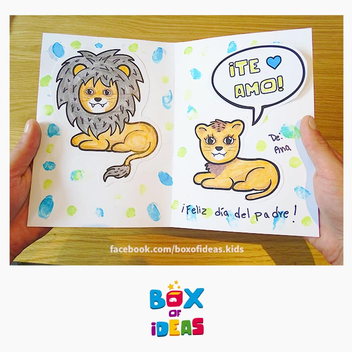 daddy-lion-and-baby-illustrated-guess-what-bilingual-card-for-Inclusive-Modern-DIY-Fathers-Day-Gift-by-box-of-ideas