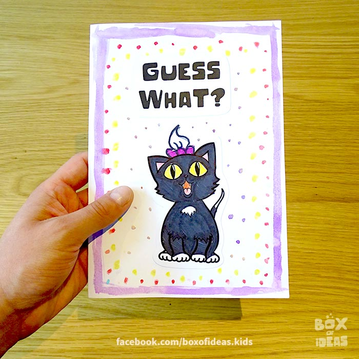 black-kitty-cat-girl-illustrated-guess-what-bilingual-card-for-Inclusive-Modern-DIY-Fathers-Day-Gift-by-box-of-ideas