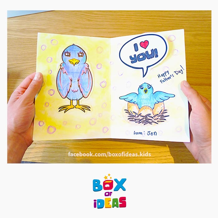 mommy-bird-and-baby-birds-in-nest-illustrated-guess-what-bilingual-card-for-Inclusive-Modern-DIY-Fathers-Day-Gift-by-box-of-ideas