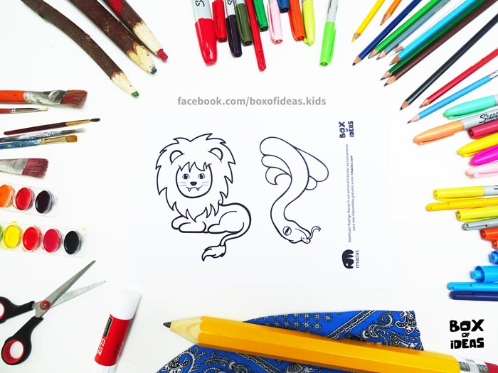 printable-preview-Lion-and-snake-Animal-adults-and-Kids-Drawings-for-Inclusive-DIY-Modern-Fathers-Day-Card-by-box-of-ideas-04