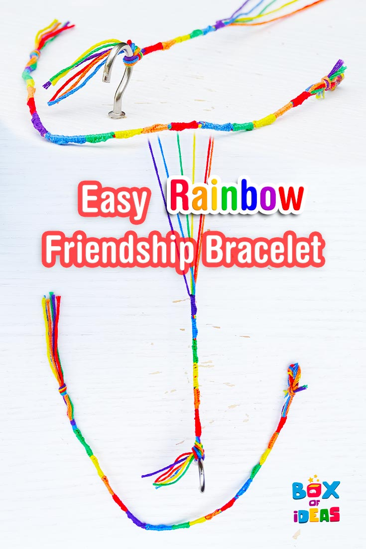 Colorful and Easy Rainbow Friendship Bracelet craft for kids! By Box of Ideas