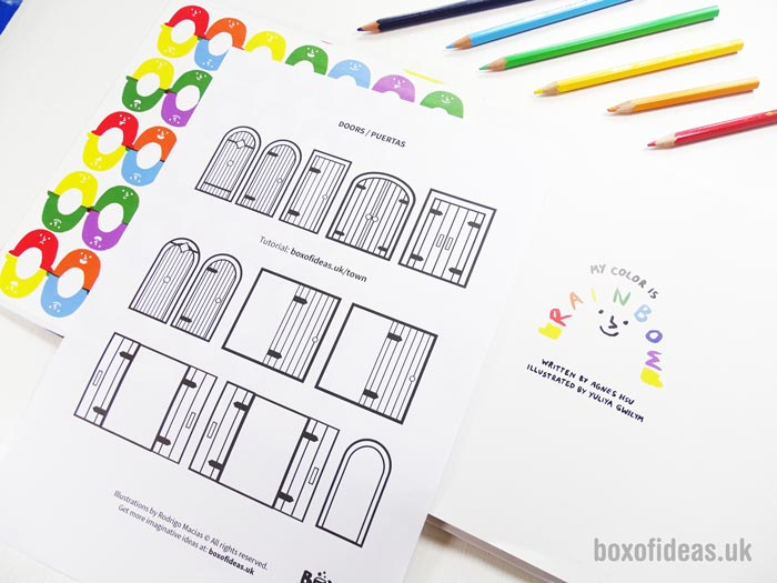 Doors printable coloring page for a recycled town project. A fun DIY kids craft toy made out of recycling #coloringpage #printable