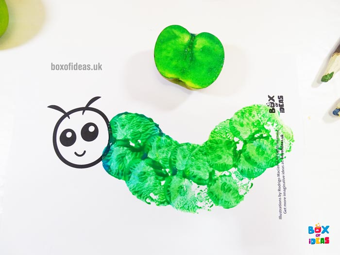 Green Stamped Caterpillar Worm for Bugs and Nature Simple Stamping Art activity for Preschool Kids using Apples. #preschool #crafts #apples #stamped