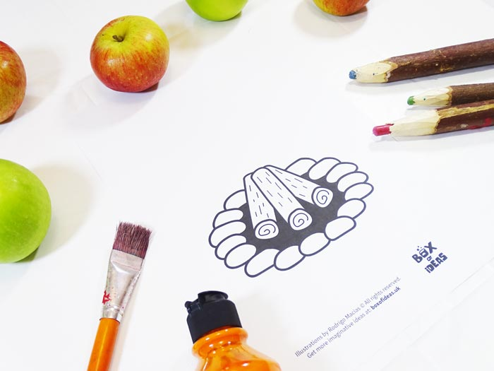 Printable campfire Coloring Page for Bugs and Nature Simple Stamping Art activity for Preschool Kids using Apples. #preschool #crafts #apples