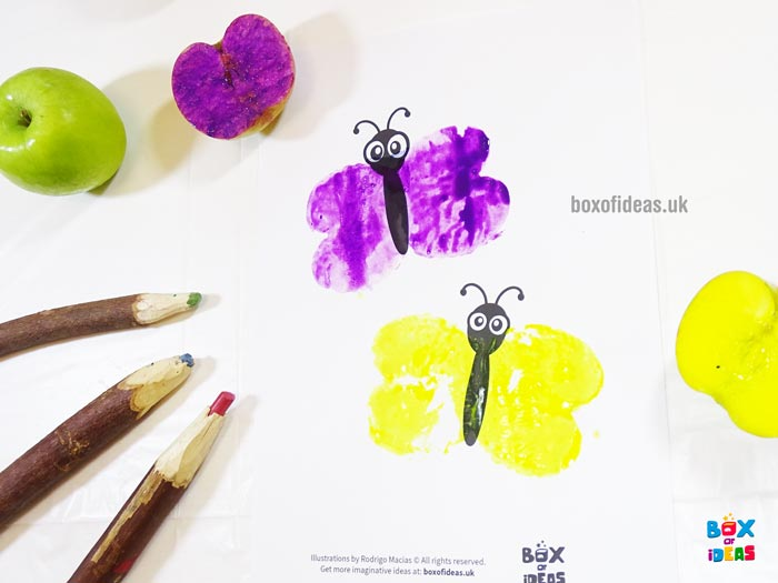 Purple and Yellow Stamped Butterflies for Bugs and Nature Simple Stamping Art activity for Preschool Kids using Apples. #preschool #crafts #apples #stamped