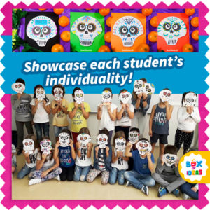 Group of children wearing sugar skull masks for day of the dead
