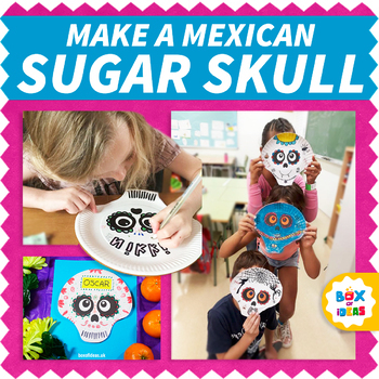 children making sugar skull masks on paper plates for day of the dead