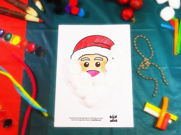 Santa Claus Craft using different materials to complete the picture #christmas #craft #kids #santaclaus
