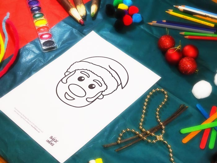 Template for Santa Claus Craft using different materials to complete the picture #christmas #craft #kids #santaclaus