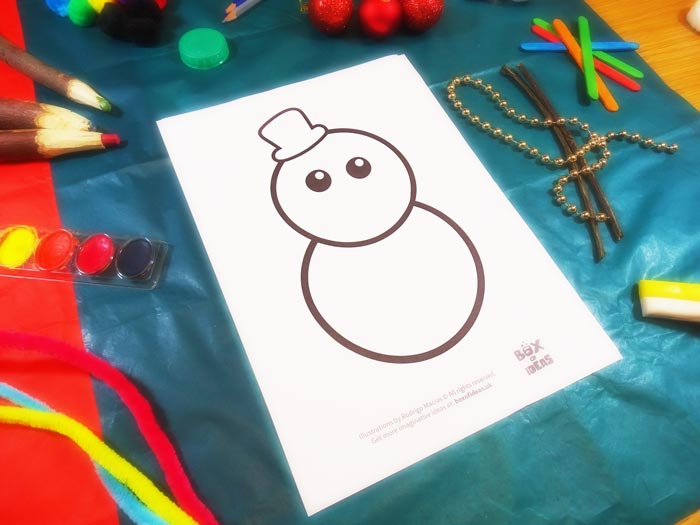 Template for Snowman Craft using different materials to complete the picture #christmas #craft #kids