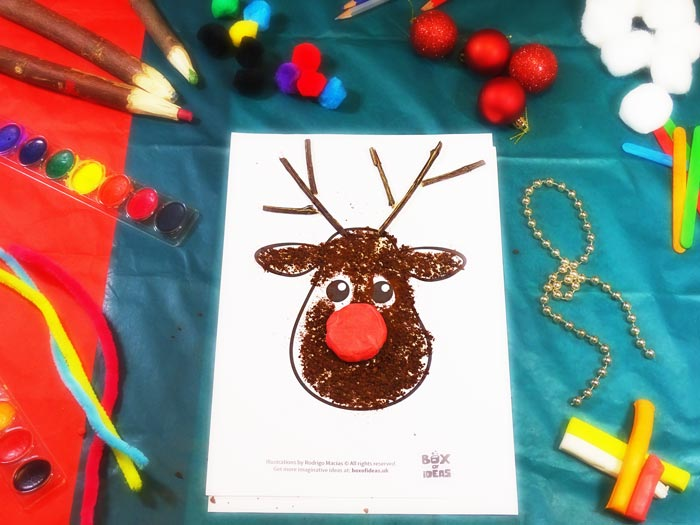 Raindeer Craft using different materials to complete the picture #christmas #craft #kids #raindeer