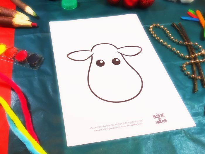 Template for Raindeer Craft using different materials to complete the picture #christmas #craft #kids #raindeer