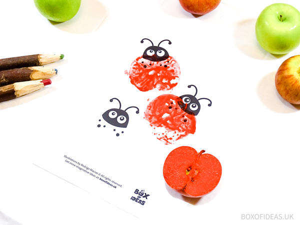 Stamped Ladybirds for Bugs and Nature Simple Stamping Art activity for Preschool Kids using Apples. #preschool #crafts #apples #stamped