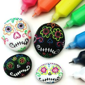 Sugar Skulls Rocks Using Puffy Paint by Color Made Me Happy