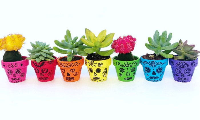 Sugar Skulls Painted Flower Pots by Color Made Happy