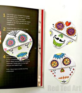 DIY Day of the Dead Bookmarks by Red Ted Art