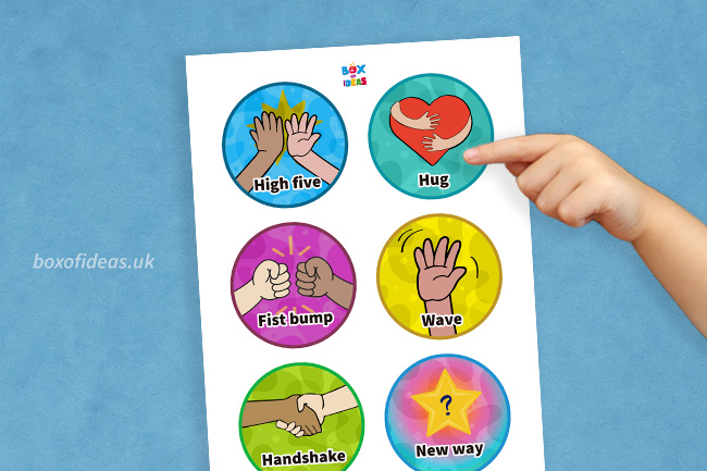 Preschooler pointing at morning greetings choices signs for Kindergarten students.Preschooler pointing at morning greetings choices signs for Kindergarten students.
