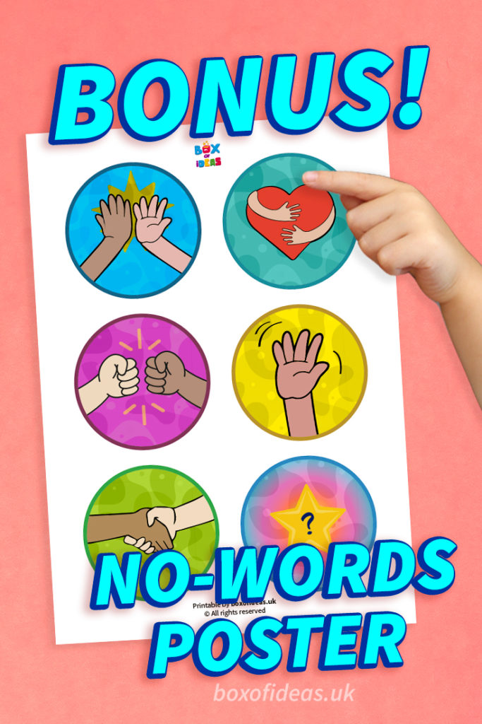 Bonus no-words greetings choices poster for the preschool classroom