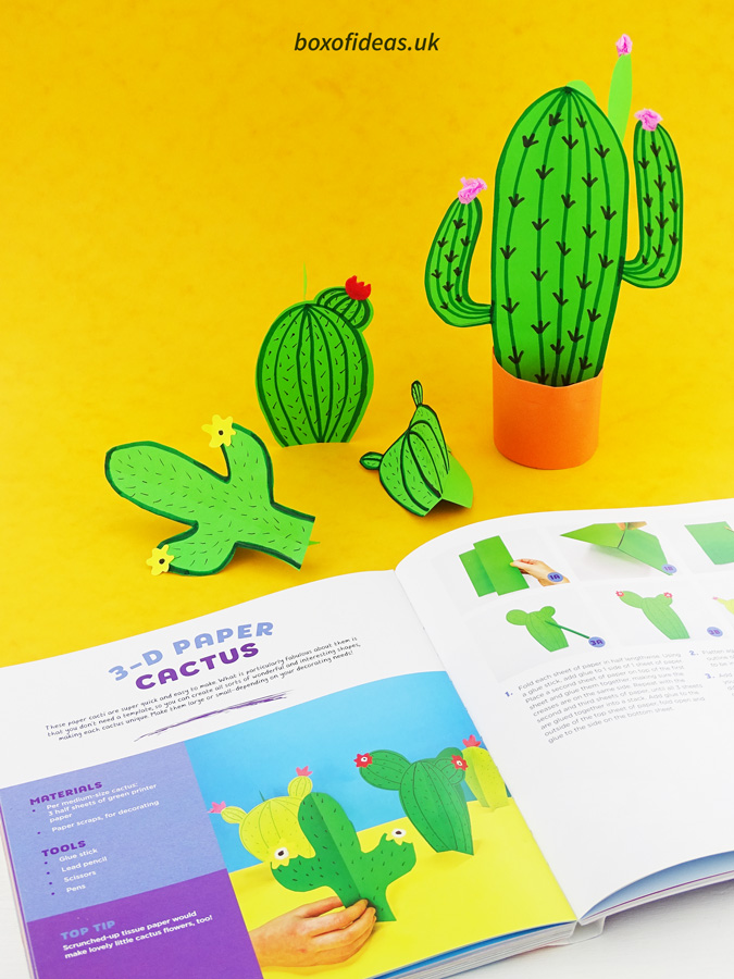 Simple 3-d cactus craft next to the book 60 easy paper projects #papercraft #kidscraft #craftsforkids #cactus #easycrafts #boxofideas