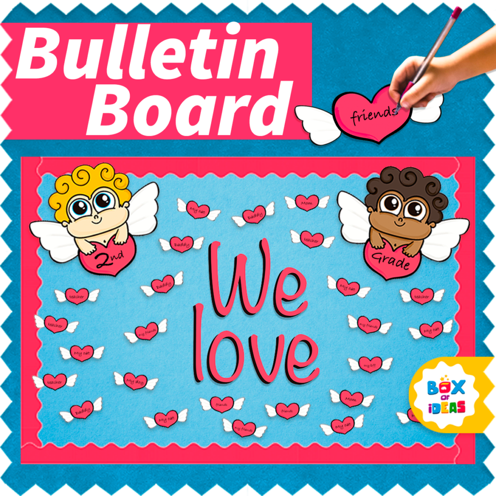 Valentine's Day bulletin board with cupids and hearts