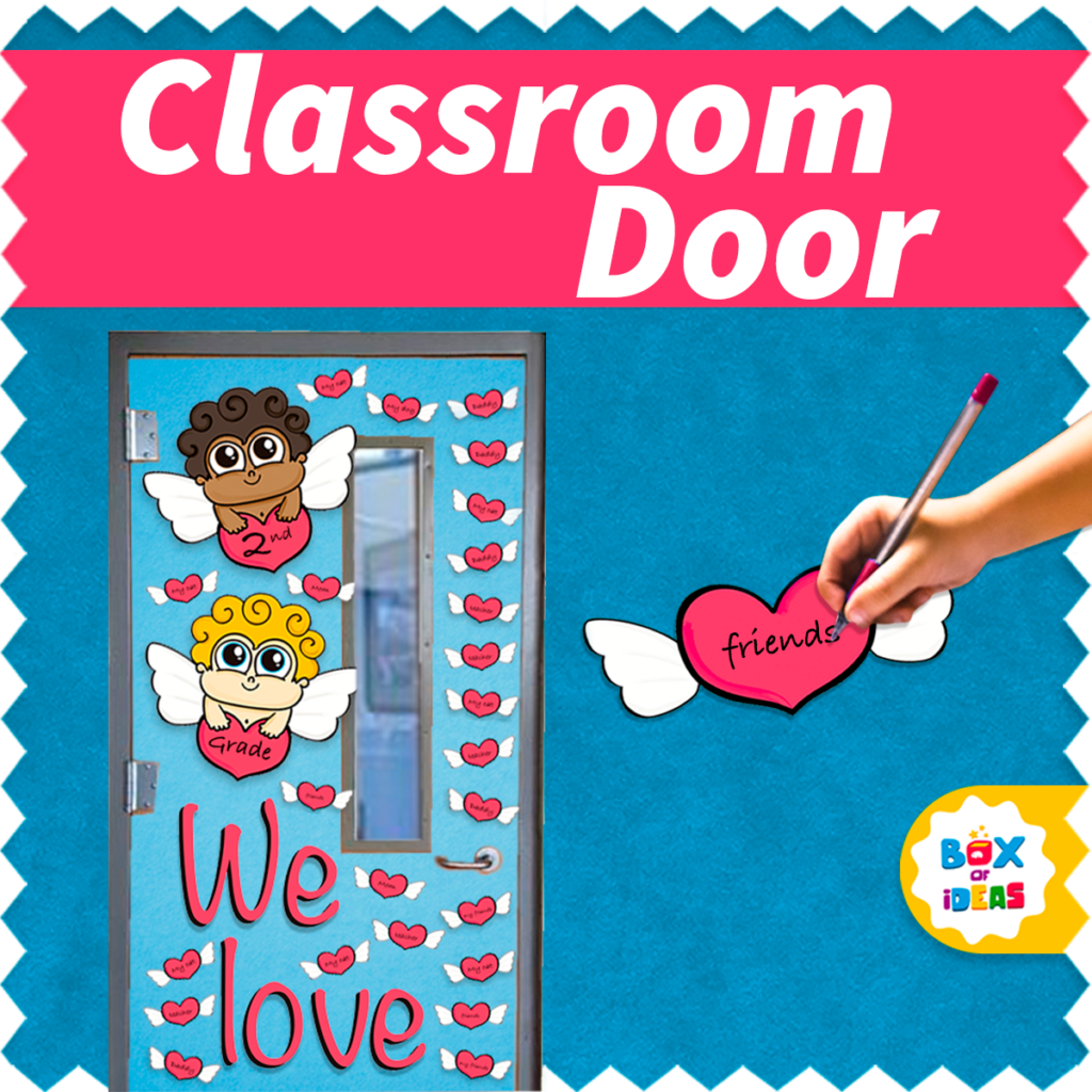 Valentine's Day classroom door decoration with cupids and hearts