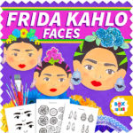 Frida Kahlo paper plate craft for kids with template