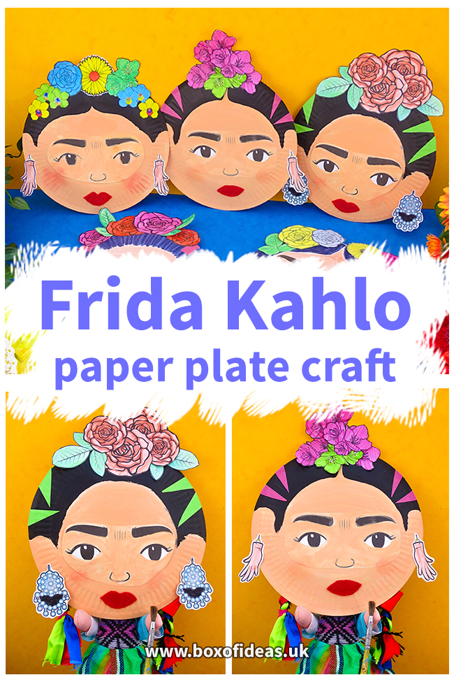 Frida Kahlo Crafts for Kids using paper plates and a template