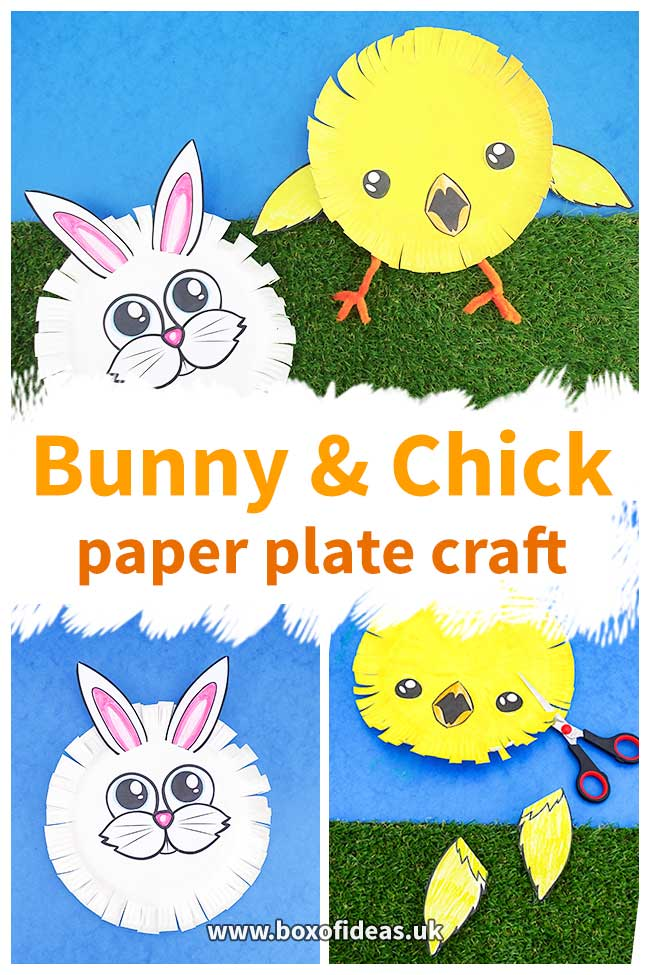 Easter bunny and chick crafts with paper plates