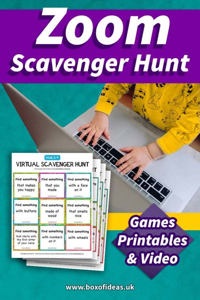 Zoom scavenger hunt Games Printable and Video with a preschooler kid typing on a laptop