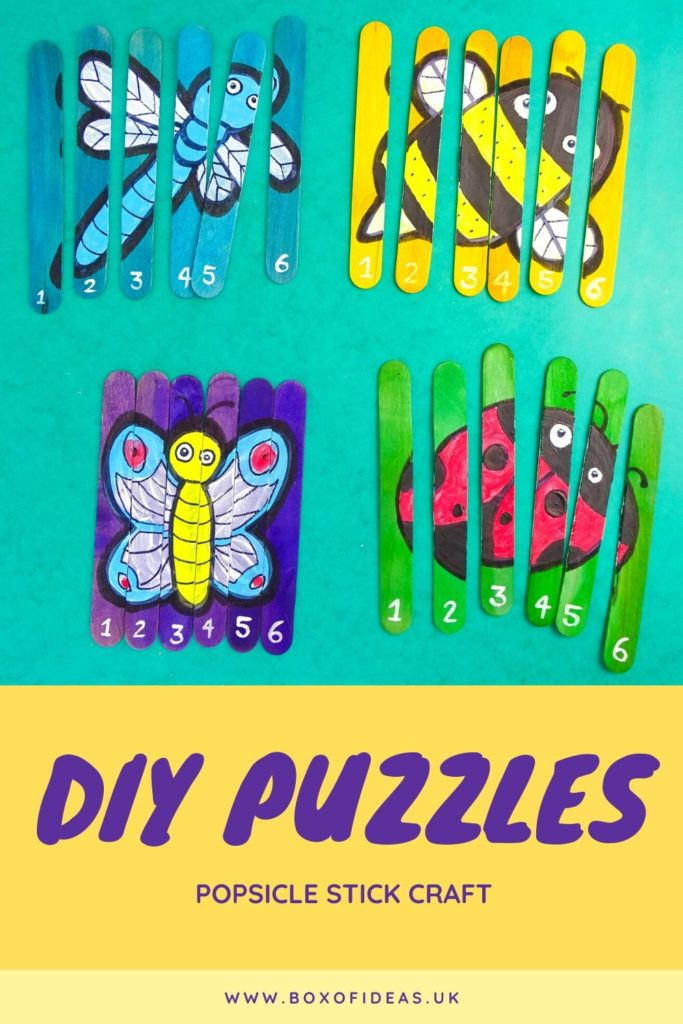 Four popsicle stick puzzle crafts with insects designs: dragonfly, bee, butterfly and ladybug.